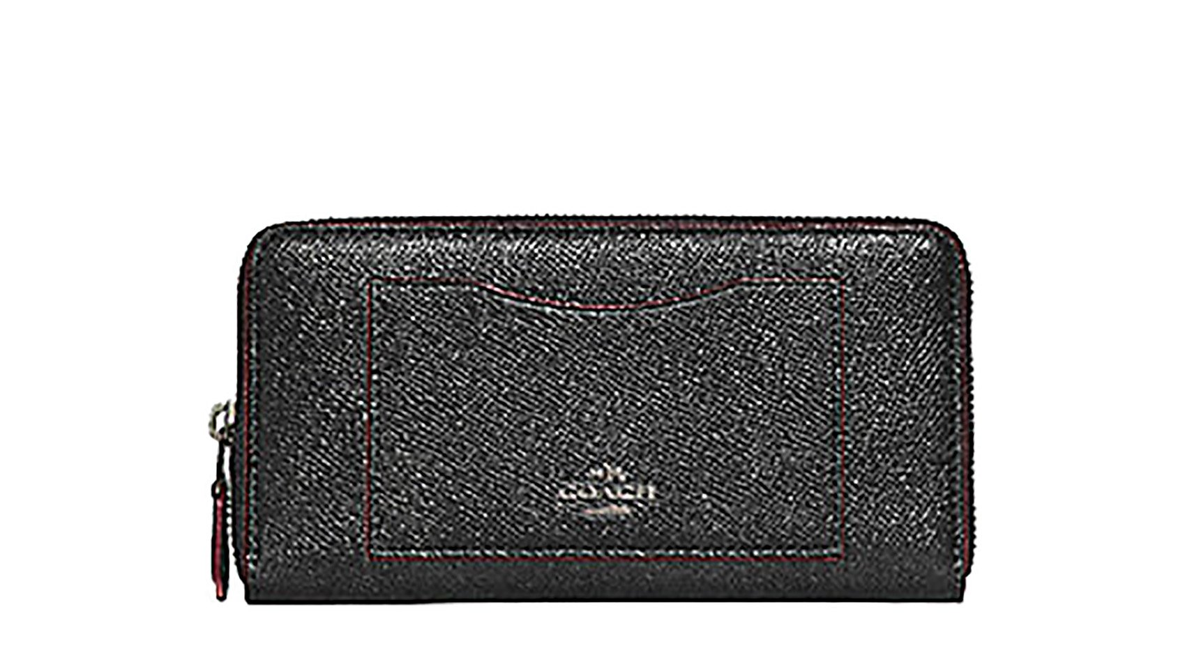 Coach Accordian Zip Leather Wallet Clutch - #F21073