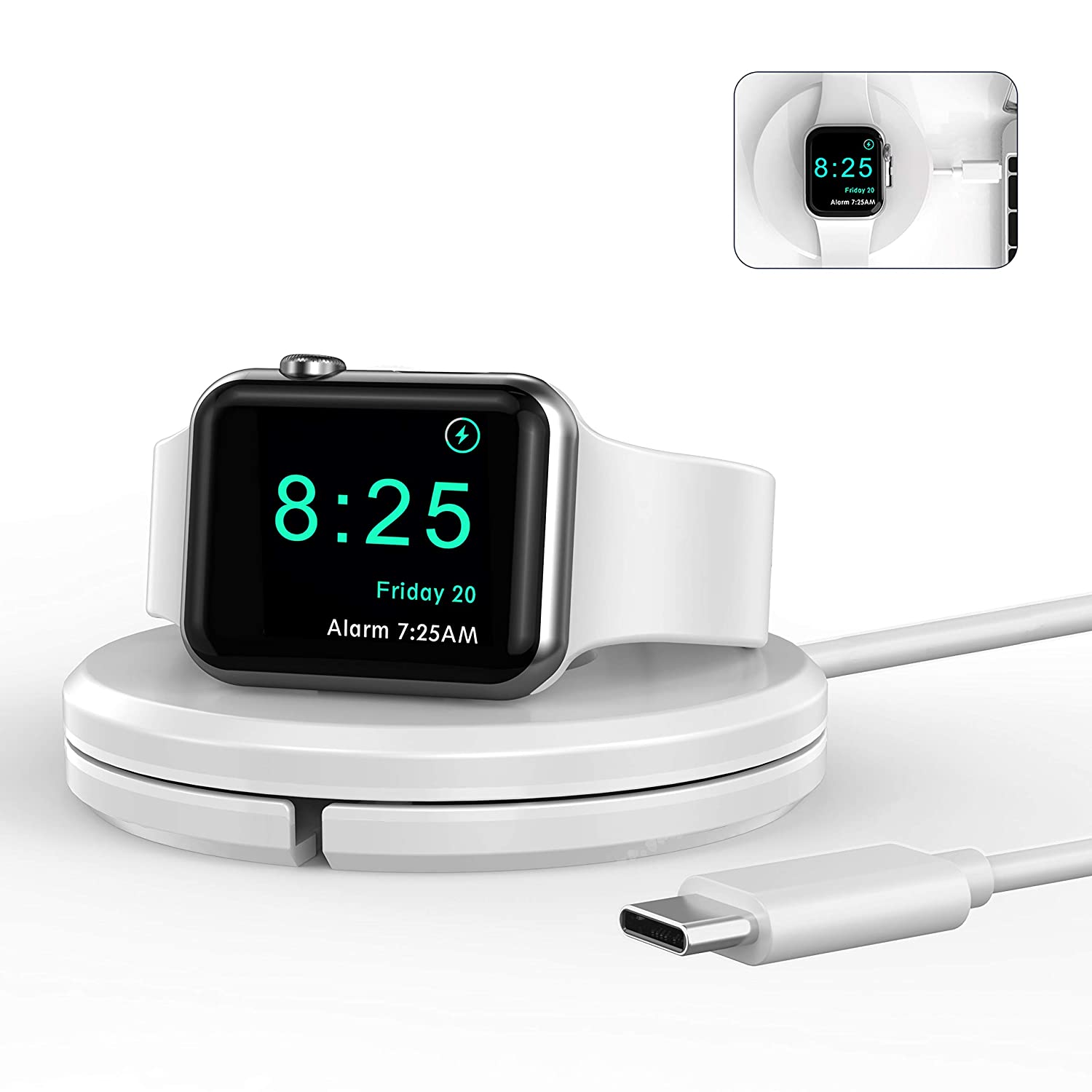 OIFEN Charging Stand [Charger Included] for Apple Watch, Portable iWatch Charger Stand with Charging Cable, Magnetic Wireless Charging Dock Compatible with Apple Watch SE Series 6/5/4/3/2/1 (White)