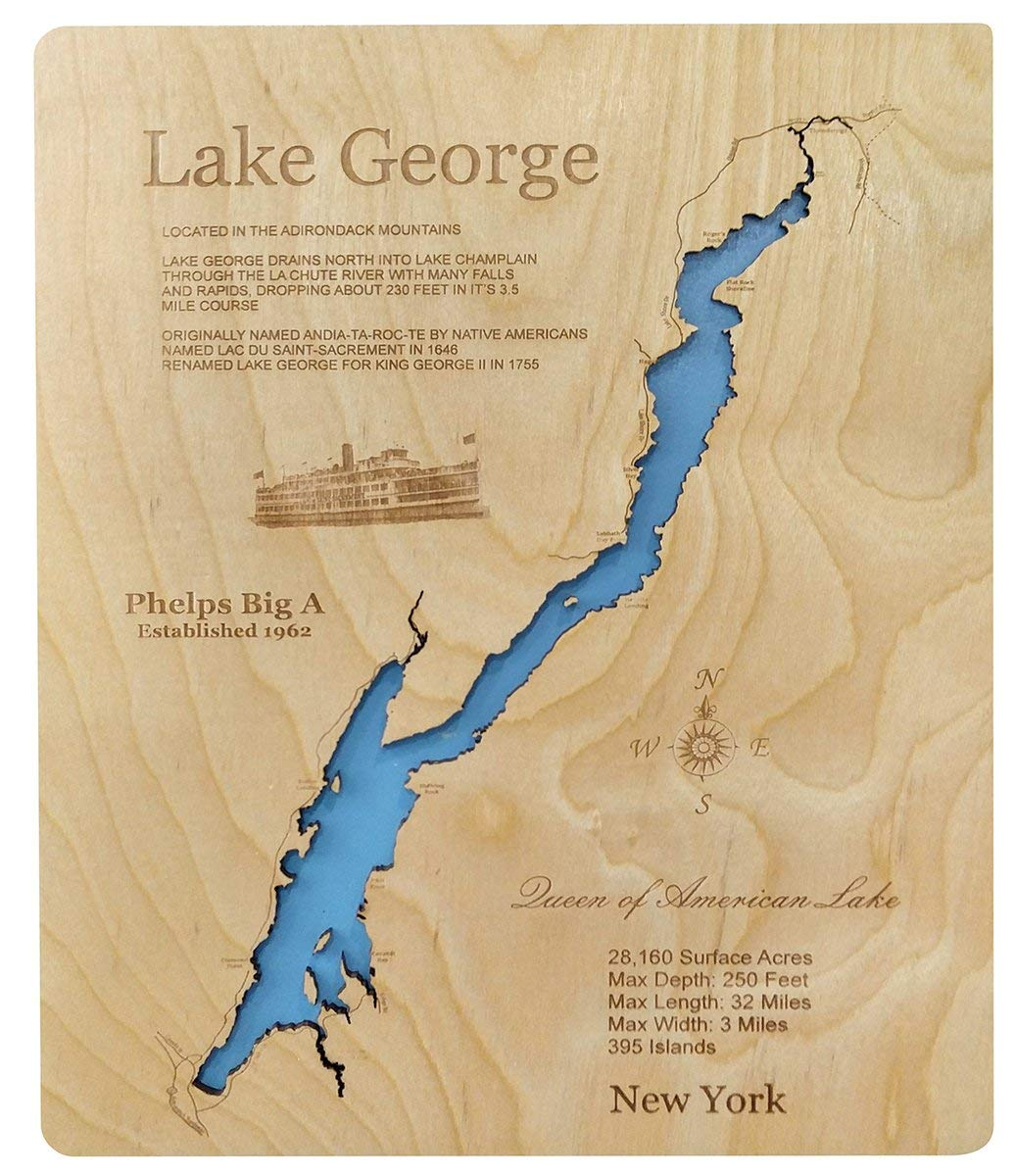 map of lake george ny area Amazon Com Lake George New York Standout Wood Map Wall Hanging map of lake george ny area