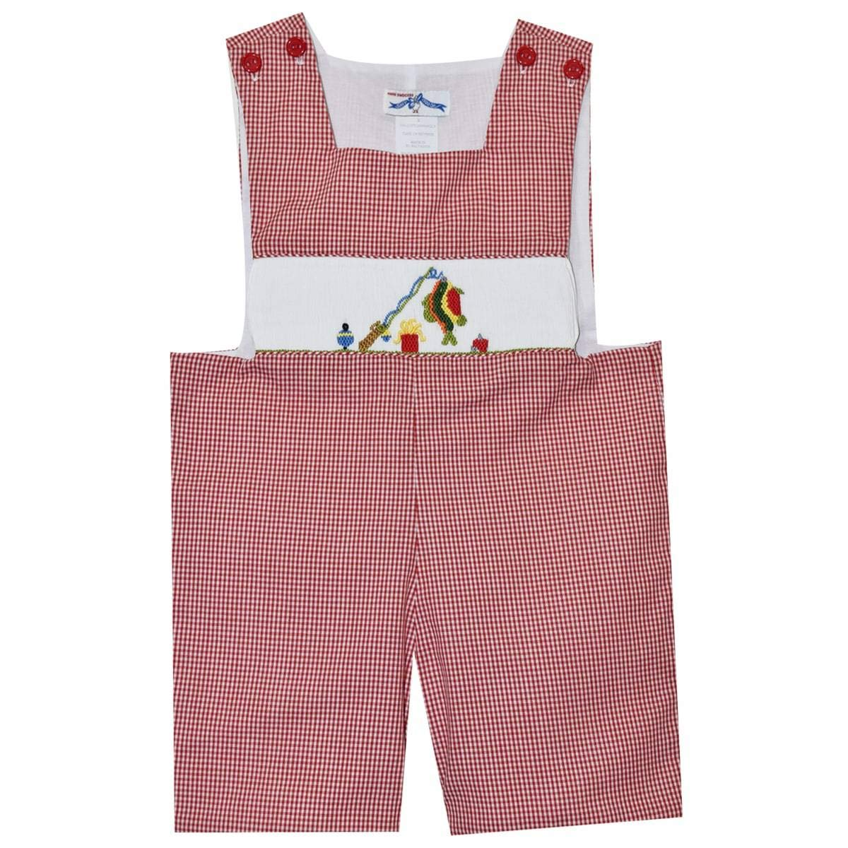 Fishing Smocked Red Gingham Check Boys Sunsuit