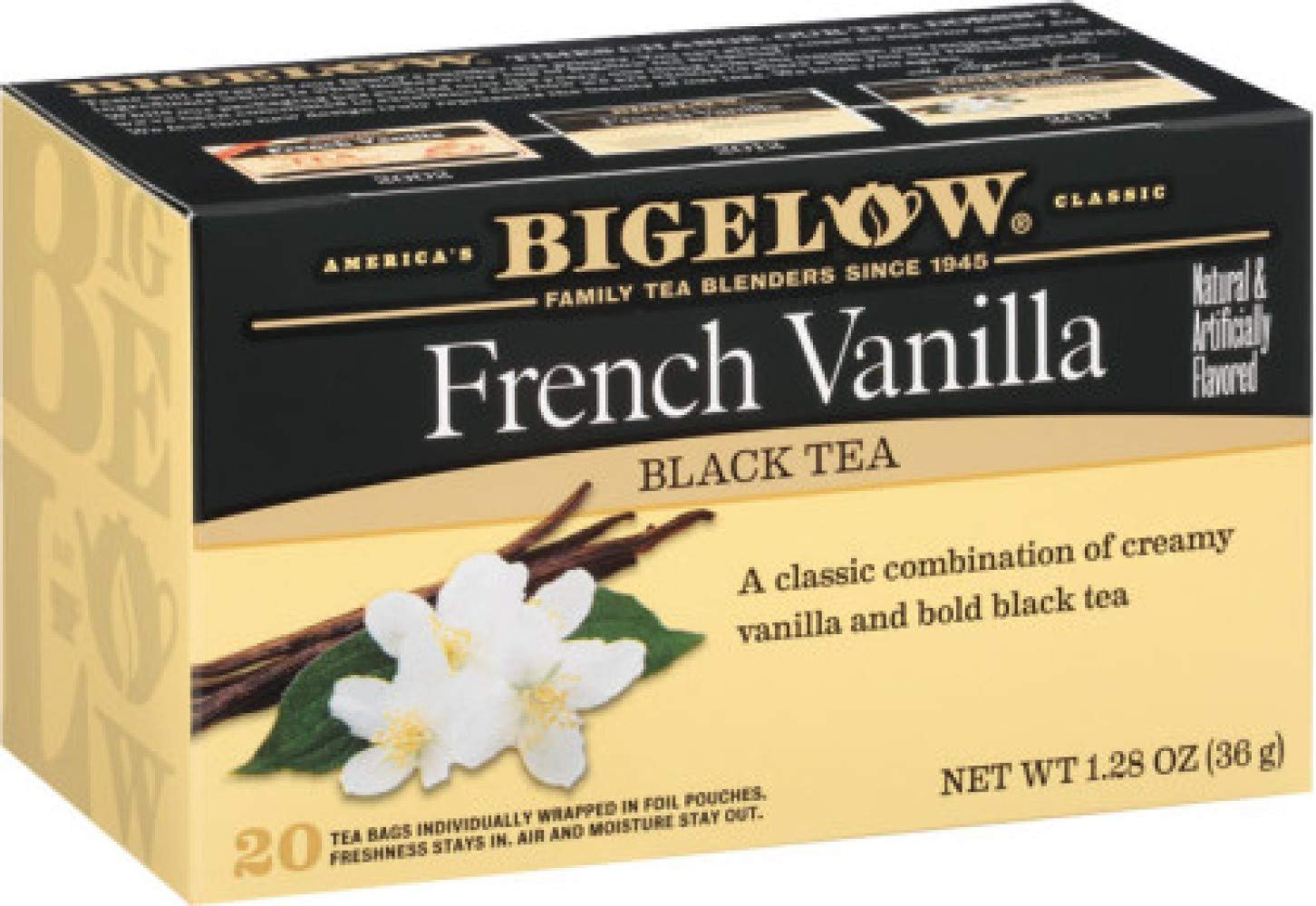 Black tea with natural and artificial vanilla flavors