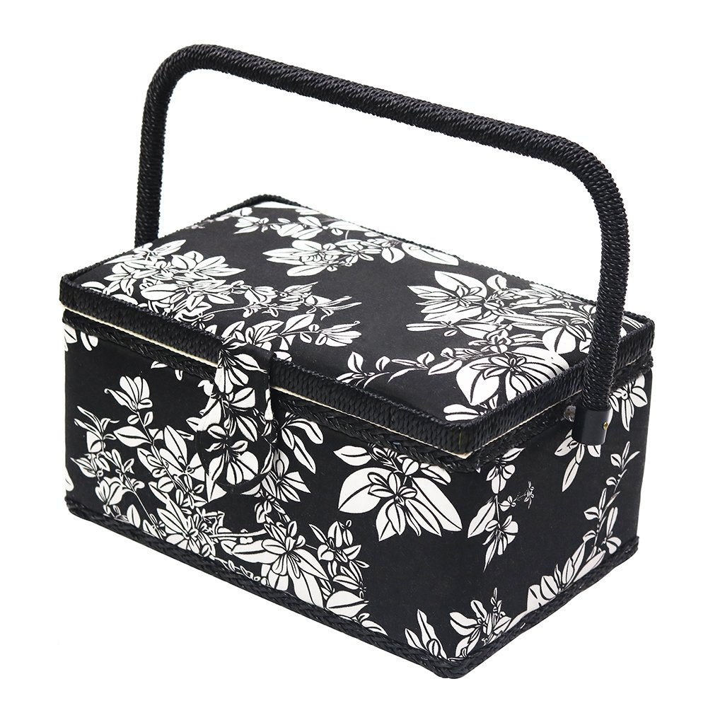 D&D Vintage Sewing Basket Kit, Sewing Box Organizer with Sewing Accessories, Black/White by D&D