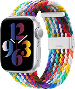 Bandiction Braided Solo Loop Stretchy Elastic Band Compatible with Apple Watch Band 38mm 40mm 42mm 44mm, iWatch Band Women Men Adjustable Strap with Buckle for iWatch Series 6/SE/5/4/3/2/1, Multicolor