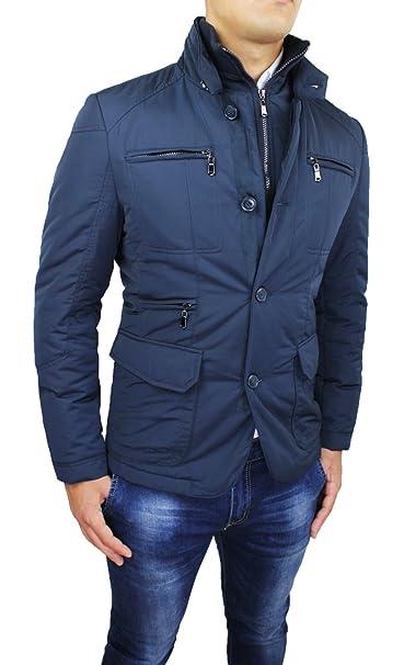 online store e915a ca5a4 Piumino Giacca Uomo Sartoriale Blu Slim Fit Casual Elegante Invernale con  Gilet Interno
