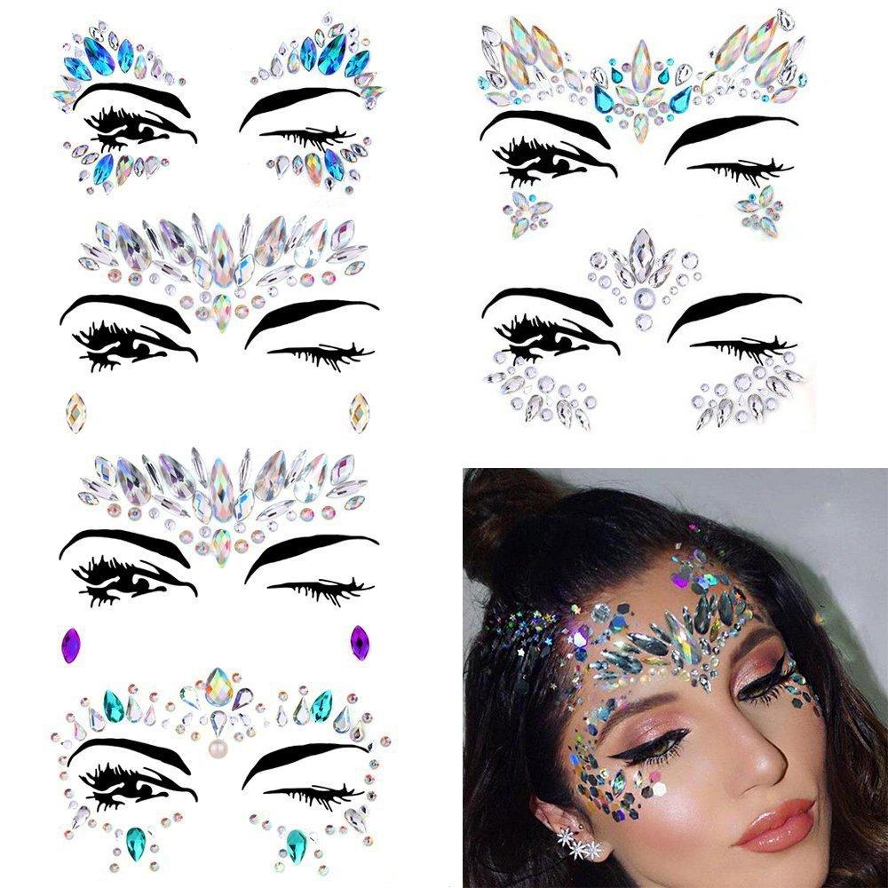 Face Gems, Ynredee 6 Set Women Mermaid Rave Festival Glitter, Rhinestone Temporary Tattoo Face Jewels Crystals Face Stickers Eyebrow Face Body Jewelry