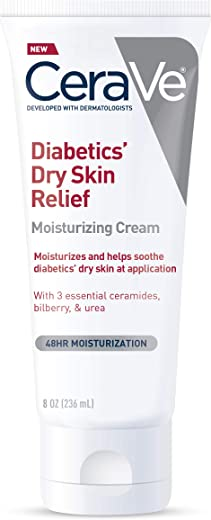 CeraVe Moisturizing Cream for Diabetics' Dry Skin | 8 Ounce | Urea Cream with Bilberry for Cracked Skin | Fragrance & Paraben Free
