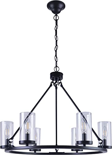 Homenovo Lighting 6-Light Wagon Wheel Chandelier