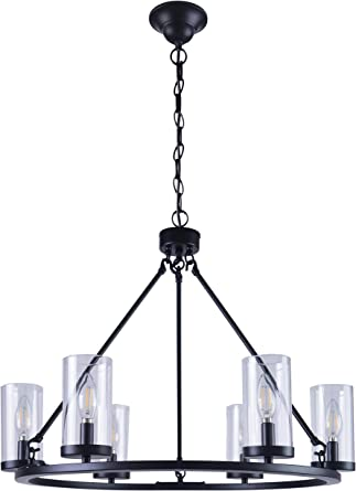 Homenovo Lighting 6 Light Wagon Wheel Chandelier With Glass Shade Matte Black Finish Home Improvement