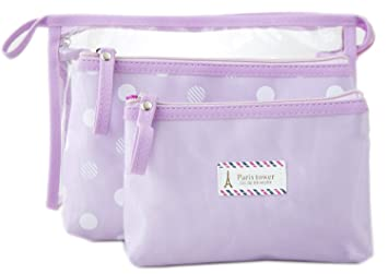 96f6775424 Amazon.com   Zhoma 3 Piece Waterproof Cosmetic Bag Set - Makeup Bags And  Travel Case - Purple   Beauty