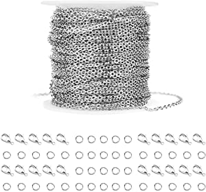 WXJ13 36 Feet Silver Stainless Steel Link Cable Chain with 20 Lobster Clasps and 30 Jump Rings for Men Women Jewelry Chain DIY Making, 2.0mm