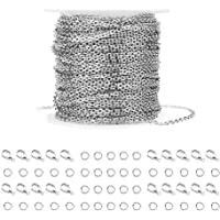 WXJ13 36 Feet Silver Stainless Steel Link Cable Chain with 20 Lobster Clasps and 30 Jump Rings for Men Women Jewelry…