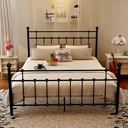 Amazon Com Metal Queen Bed Frame Platform With Steel Headboard And