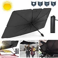 Car Windshield Sun Umbrella Foldable Car Front Windshield Sunshade Window Cover UV Rays and Heat Sun Visor Protector- 57…