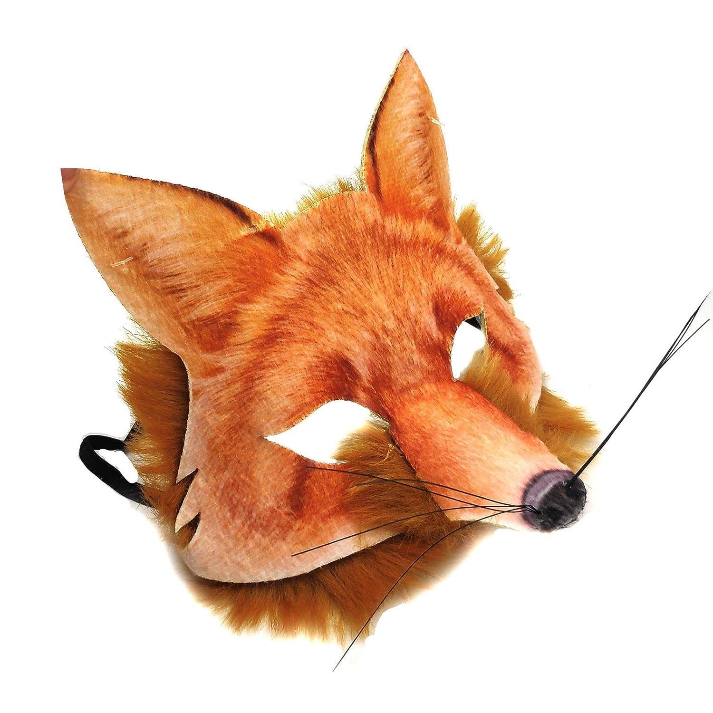 Adult Kids Mr Fox Realistic Fake Fur Mad Hatter Tea Fancy Dress Hunt Animal Carnival Book Week Mask