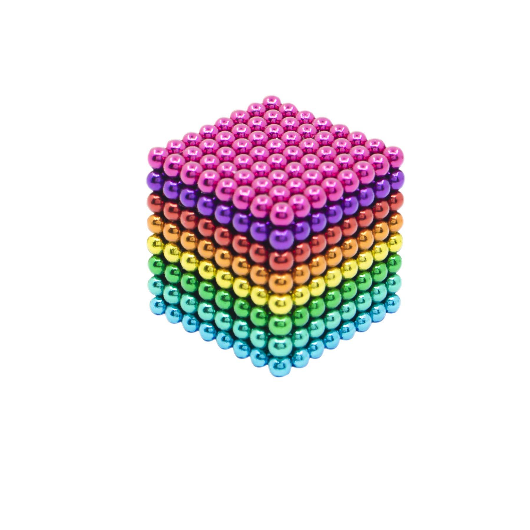 HBDeskToys Fidget Ball Puzzle,Cube Toys Sculpture Holders, Children's Puzzle Magic Cubes DIY Educational Toys for Intelligence & Stress Relief, 512Pcs,Colorful