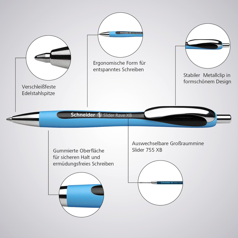 Schneider Slider Rave XB Ballpoint Pen, Box of 5, Blue (132503) by Schneider (Image #4)