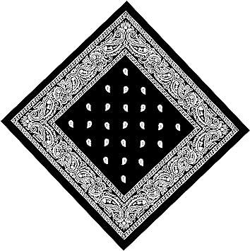 2X BLACK Bandana with WHITE square Paisley pattern ON BOTH SIDES