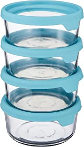 Anchor Hocking TrueSeal Glass Food Storage Containers with Airtight Lids, Mineral Blue, 7 Cup (Set of 4)