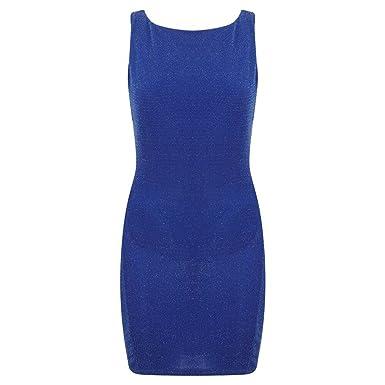 33d1b7bd Ex Lipsy Blue Sparkly Glitter Cowl Back Bodycon Party Mini Dress Size 10 12  14 (UK 14): Amazon.co.uk: Clothing