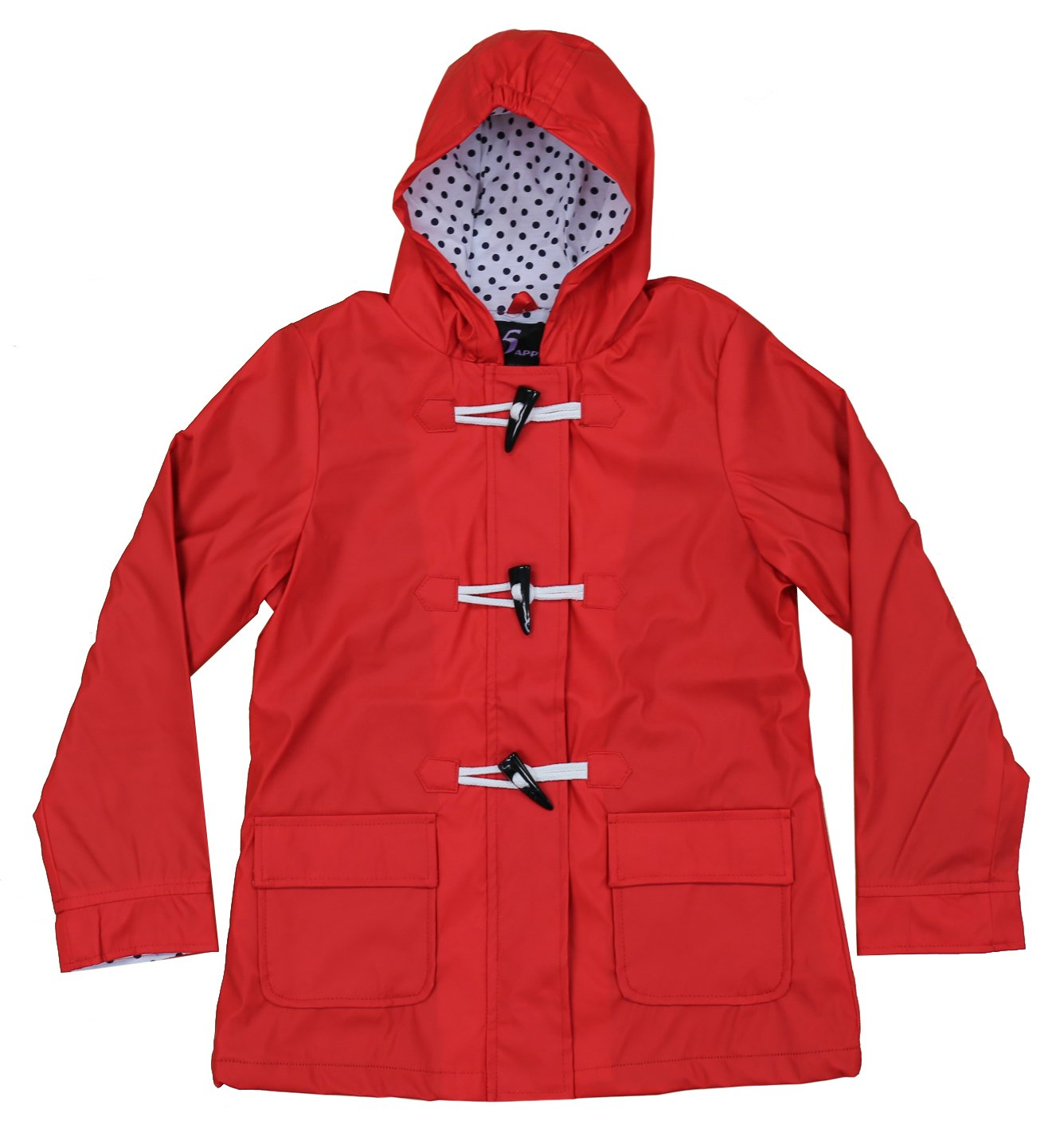 Apparel No. 5 Girls' Hooded Fully Lined Toggle Packable Rain Coat