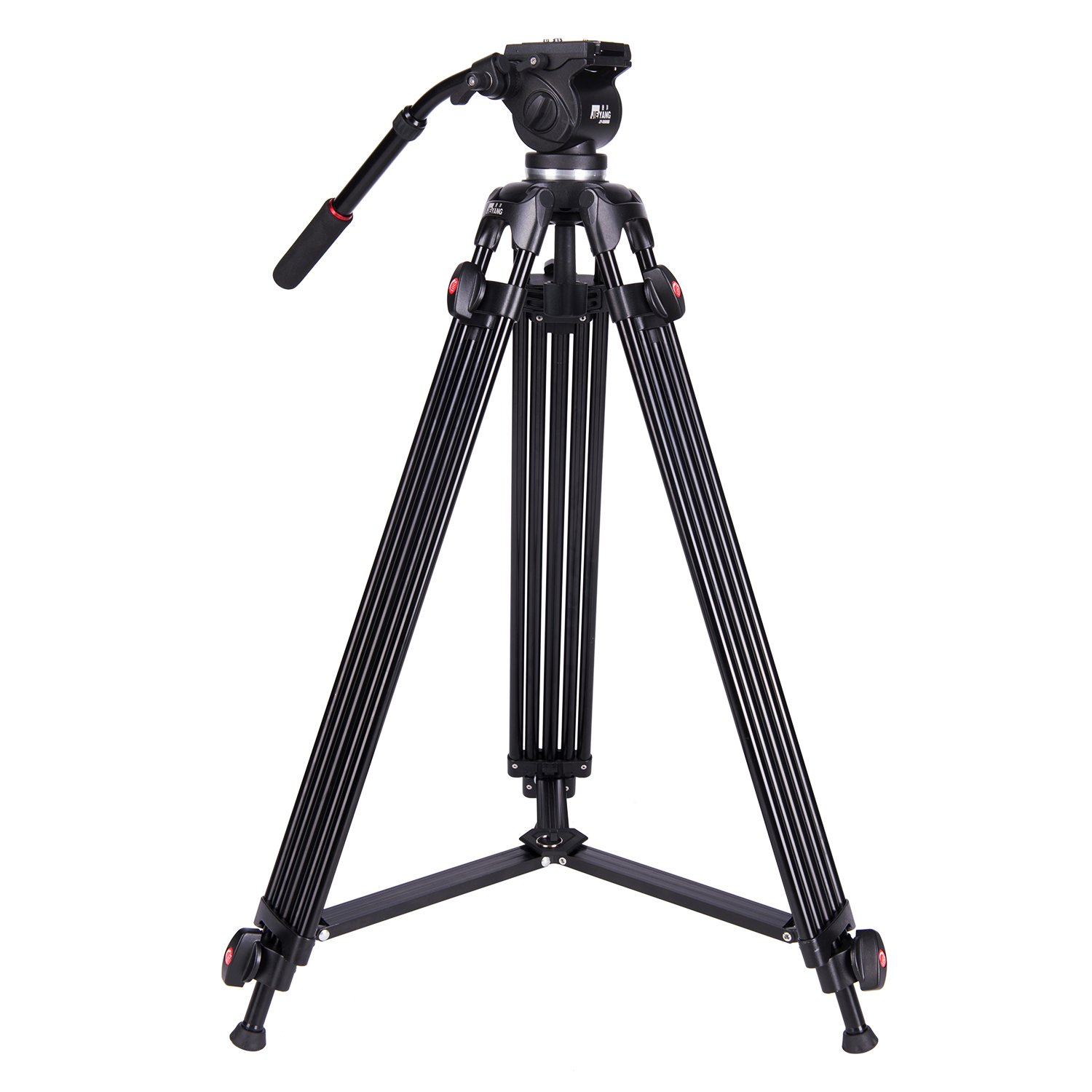Professional Video Tripod,73 Inchs Heavy Duty Aluminum Alloy Tripod with Fluid Drag Head, 1/4″and 3/8″Quick Release Plate,Max Loading 7KG,with Carrying Bag for Video Camera Camcorder by JIEN YANNG