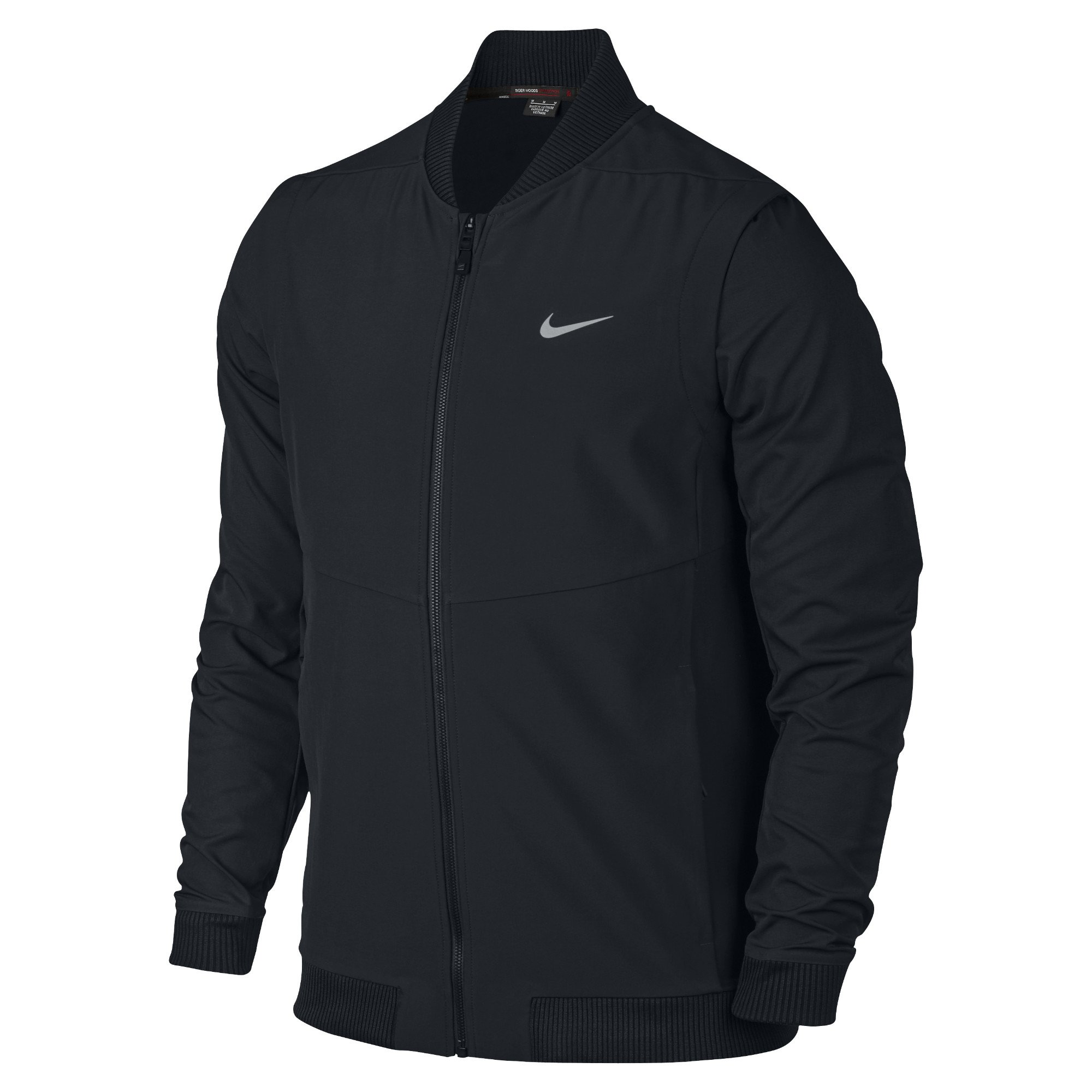 Nike TW (Tiger Woods Collection) Hyperadapt Men's Golf Bomber Jacket (Small, Black/Flat Silver) by Nike (Image #1)