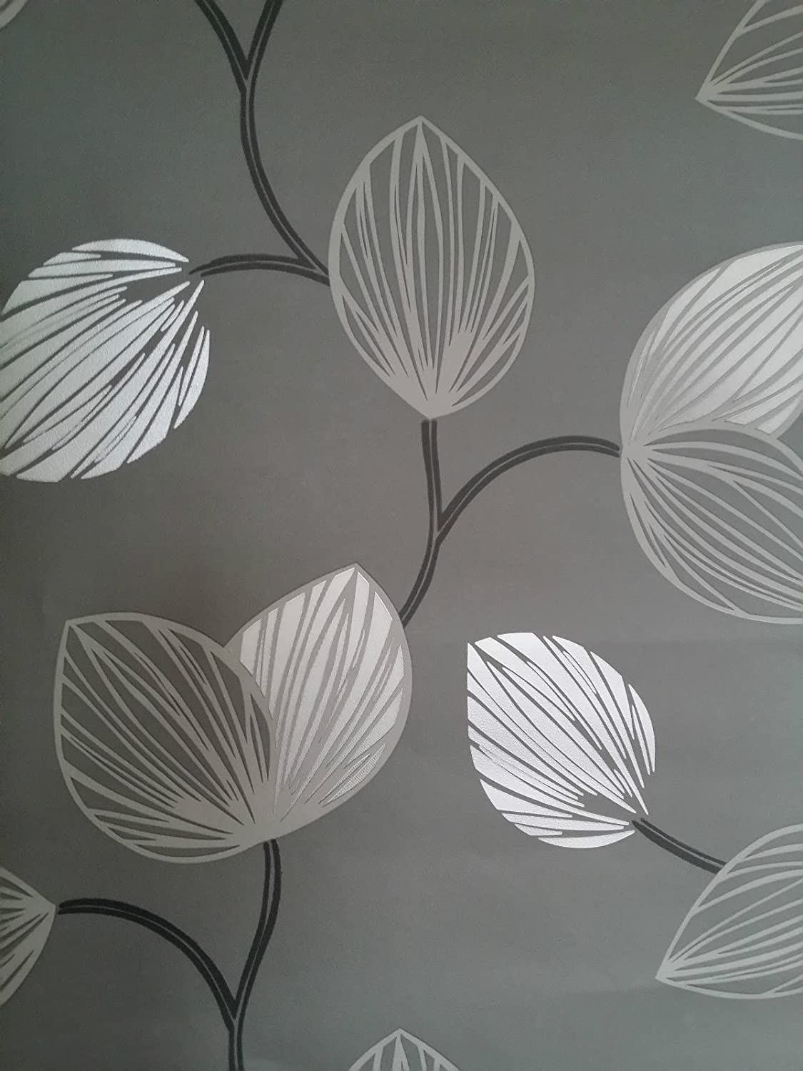 Designer Feature Wall Wallpaper Black With Grey Silver Flowers