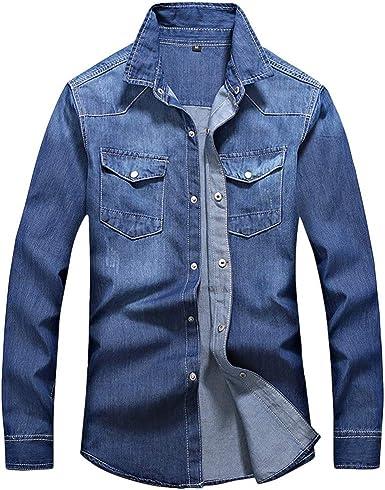 Sylar Camisas De Hombre Manga Larga Camisa Vaquera De Manga Larga para Hombre Casual Camiseta De
