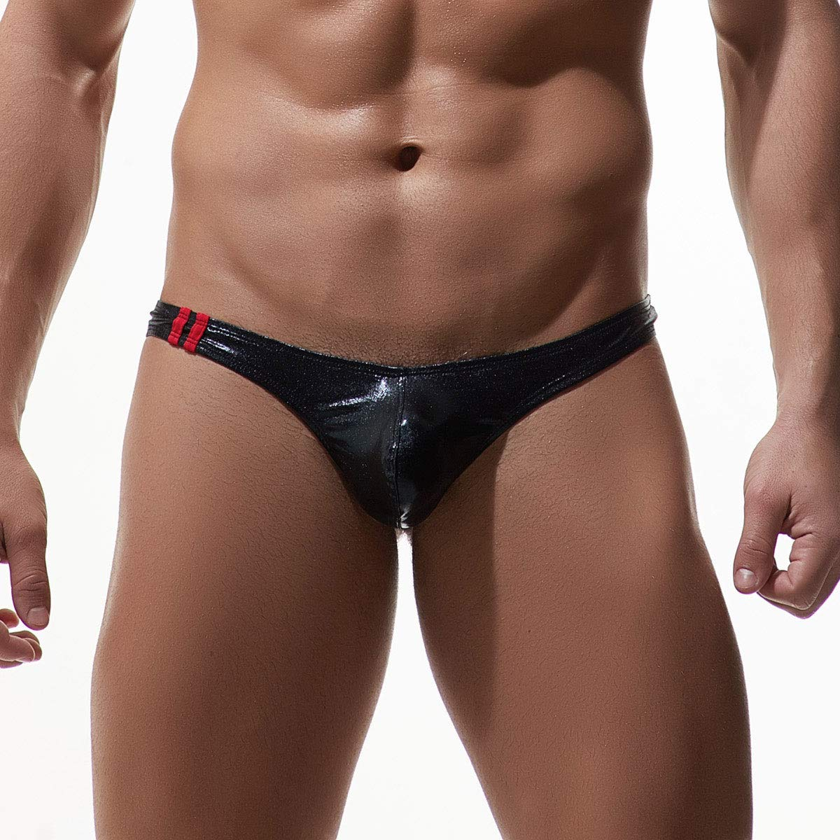 ElsaYX Mens Low Rise Faux Leather Underwear