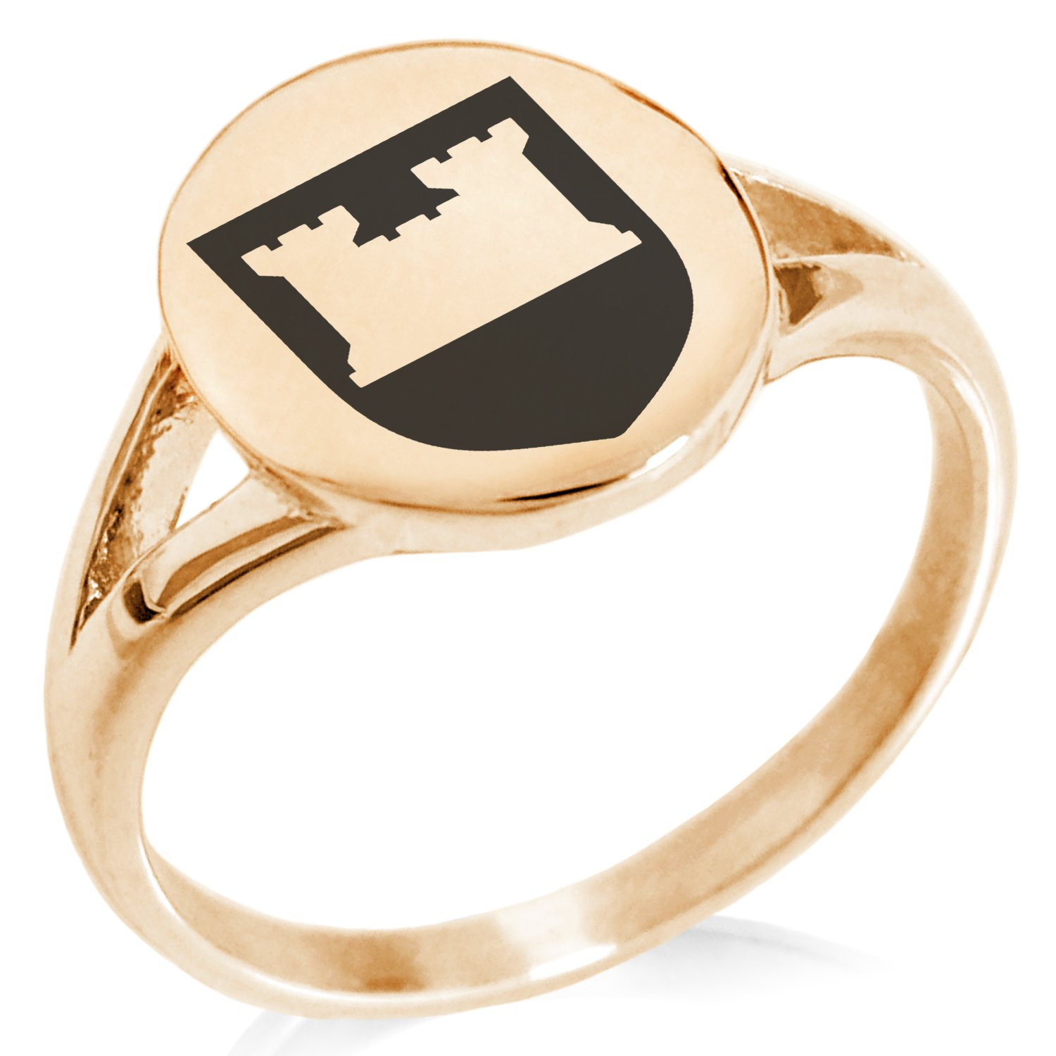 Tioneer Rose Gold Plated Stainless Steel Castle Protection Coat of Arms Shield Symbol Minimalist Oval Top Polished Statement Ring, Size 8