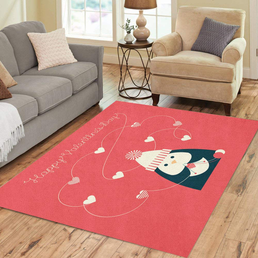 Semtomn Area Rug 2' X 3' Holiday of Cute Cartoon Penguin Knitting Heart Shapes Text Happy Valentine Day Home Decor Collection Floor Rugs Carpet for Living Room Bedroom Dining Room