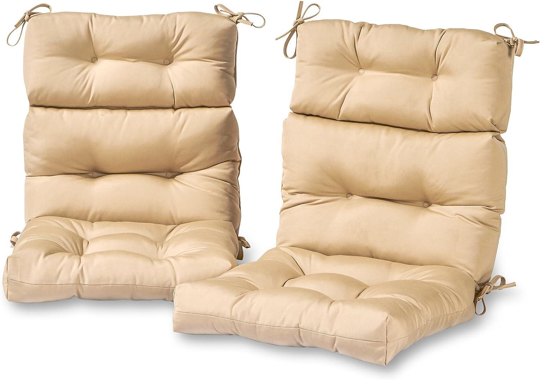 Greendale Home Fashions AZ6809S2-STONE Sanddollar Outdoor High Back Chair Cushion (Set of 2)