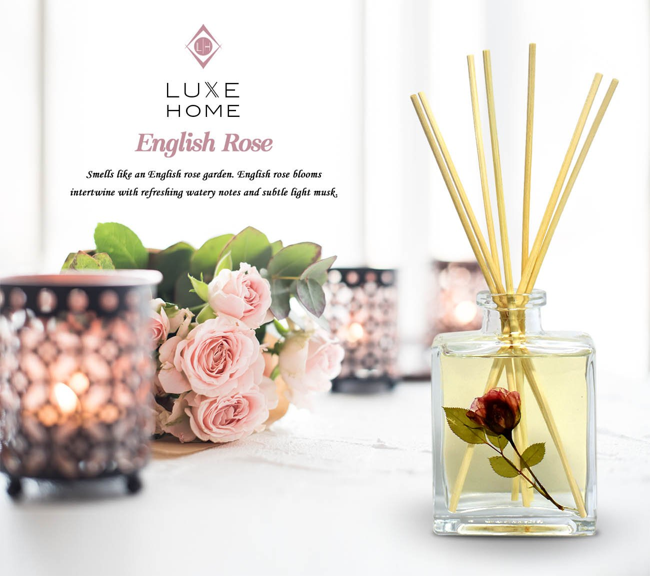 LUXE Home English Rose Fragrance Reed Diffuser Sticks Set | Beautiful Home Decor Scented Room Diffuser