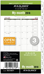 """AT-A-GLANCE Day Runner Monthly Planner Refill, January 2018 - December 2018, 3-3/4"""" x 6-3/4"""", Loose Leaf, Size 3 (063-685Y)"""