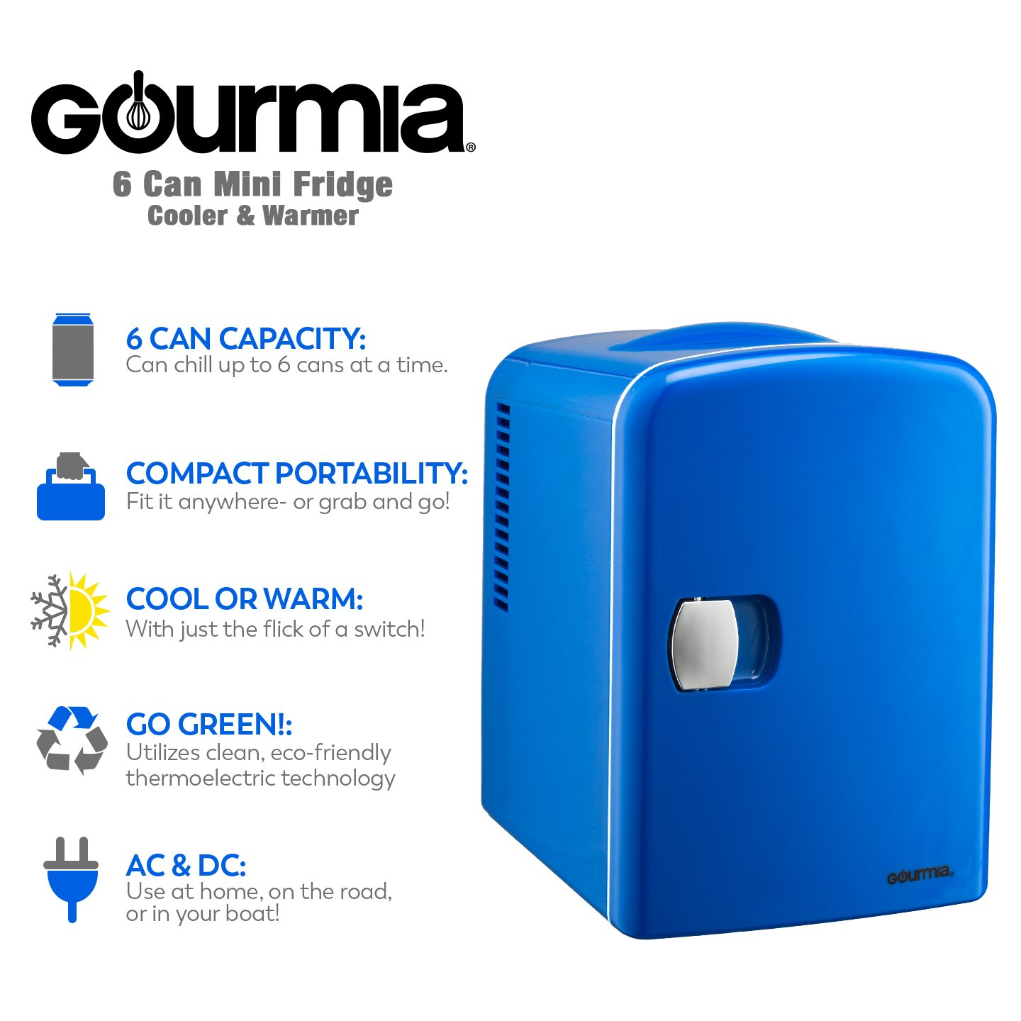 Amazon.com: Gourmia GMF-600B Portable 6 Can Mini Fridge Cooler & Warmer, Blue: Kitchen & Dining