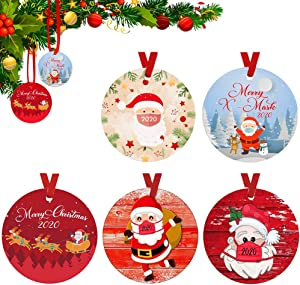 LKV 5 Packs 2020 Christmas Tree Ornaments with Masks, Quarantine Survivor Christmas Pendants Gift Indoor, Home/Party/Restaurant/Bar Christmas Tree Decoration, 5 of 2020 Quarantine Theme