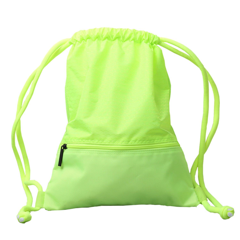 アルパカGo巾着バッグ、軽量耐久性防水Gym SackpackスポーツバスケットボールRunning Dancing水泳ハイキングジムバックパック B0739QZH5V Large|グリーン グリーン Large