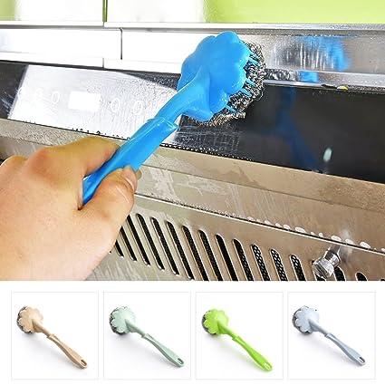 4 cepillos de alambre con mango de plástico, cepillo de limpieza UxradG antidesgaste duradero para