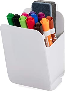 Wallniture Origami Dry Erase Marker Holder for Glass Whiteboards and Fridge Pen Cup, Recycled Plastic, White, Assembly Required