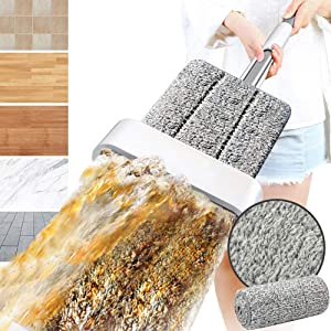 Microfiber Mop for Floor Cleaning - Dust Mop with Self Wringing, Laminate, Hardwood, Wood Floor Cleaner Mop Dry Wet Mop with Washable Pad