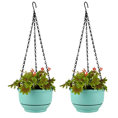 T4U Plastic Hanging Planter Self Watering Basket with Detachable Base 9 Inch Mint Green Set of 2 - Round Hanging Flower Plant Pot Deep Reservoir Container Box for House Plants Home Garden Decoration: Garden & Outdoor