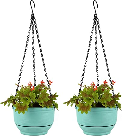 T4U Plastic Hanging Planter self watering Basket with Detachable Base, Set of 2 product image