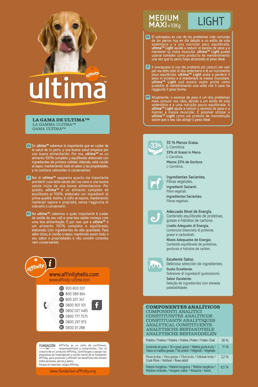 Ultima Pienso para Perros Medium Maxi Adultos Light - 3000 gr: Amazon.es: Alimentación y bebidas