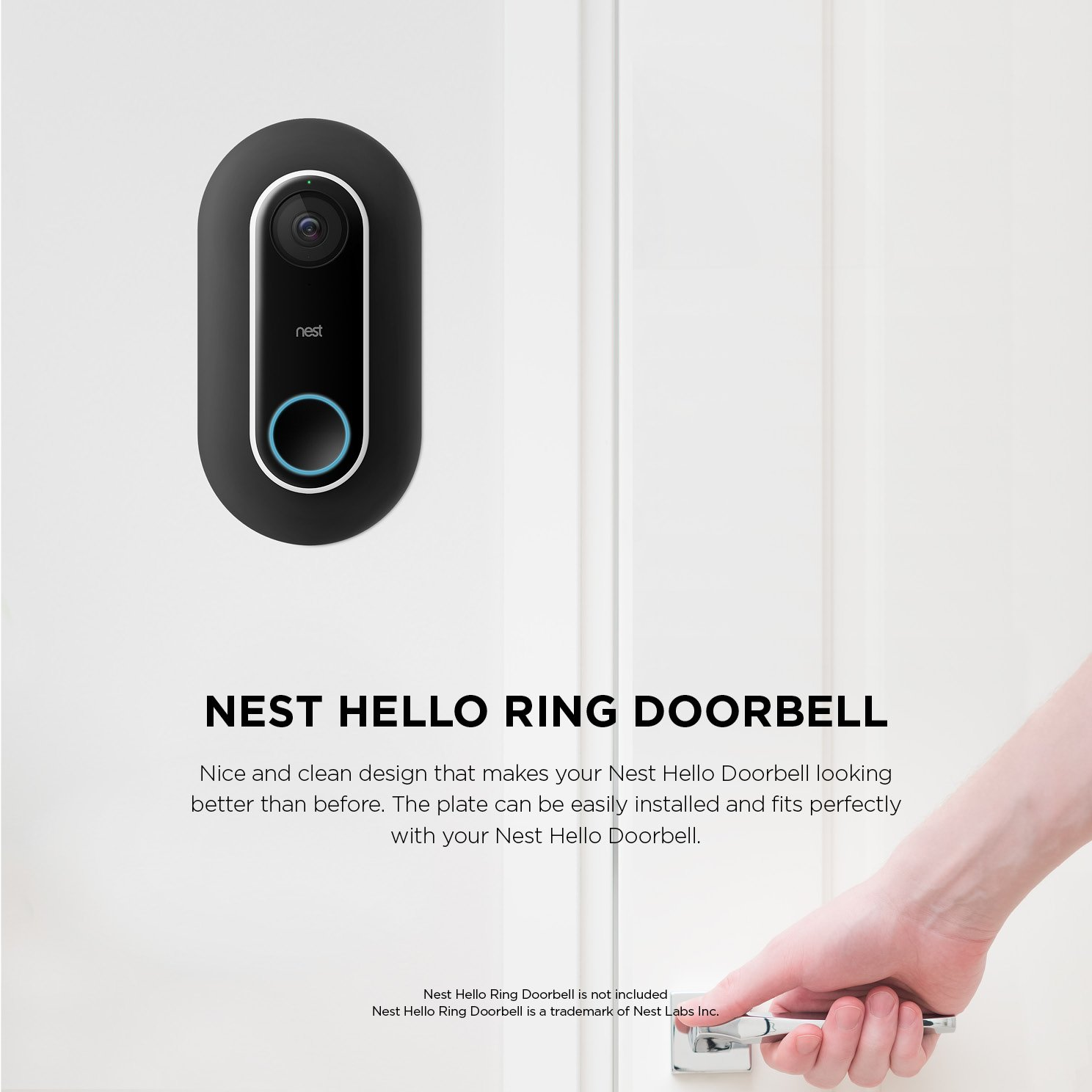 Elago Wall Plate For Nest Hello Black Compatible With Adjustable Wedge Double Coated Uv Resistant Hard Abs Material Matt Finish Patent
