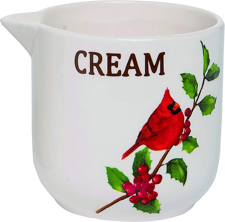Tabletop Serveware Set Of Sugar Creamer Server Ceramic Christmas Seasonal Holiday Kitchen Decor Organizer Red Yellow Cardinals On Holly Berry Condiment Holders Dispensers