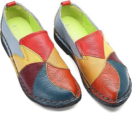 Socofy Mocassins Femme, Chaussures de Ville en Cuir Talon Plate Loafters Slip on A Enfilter Printemps Noir Gris Bleu Jaune Rouge (Grille de Poiture