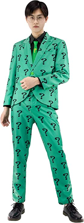 C-ZOFEK The Riddler Cosplay Costume Mens Green Suit with Shirt Tie