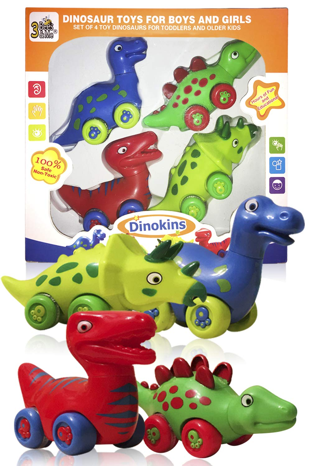 3 Bees & Me Dinosaur Toys for Boys and Girls - Set of 4 Toy Dinosaurs for Kids by 3 Bees & Me