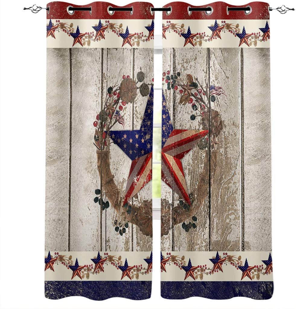 """BMALL Grommet Window Curtains Panels Patriotic Stars and Primitive Berries on Country Wooden Plank Window Curtain 2 Panels for Living, Dining, Bedroom,40"""" x 63"""""""