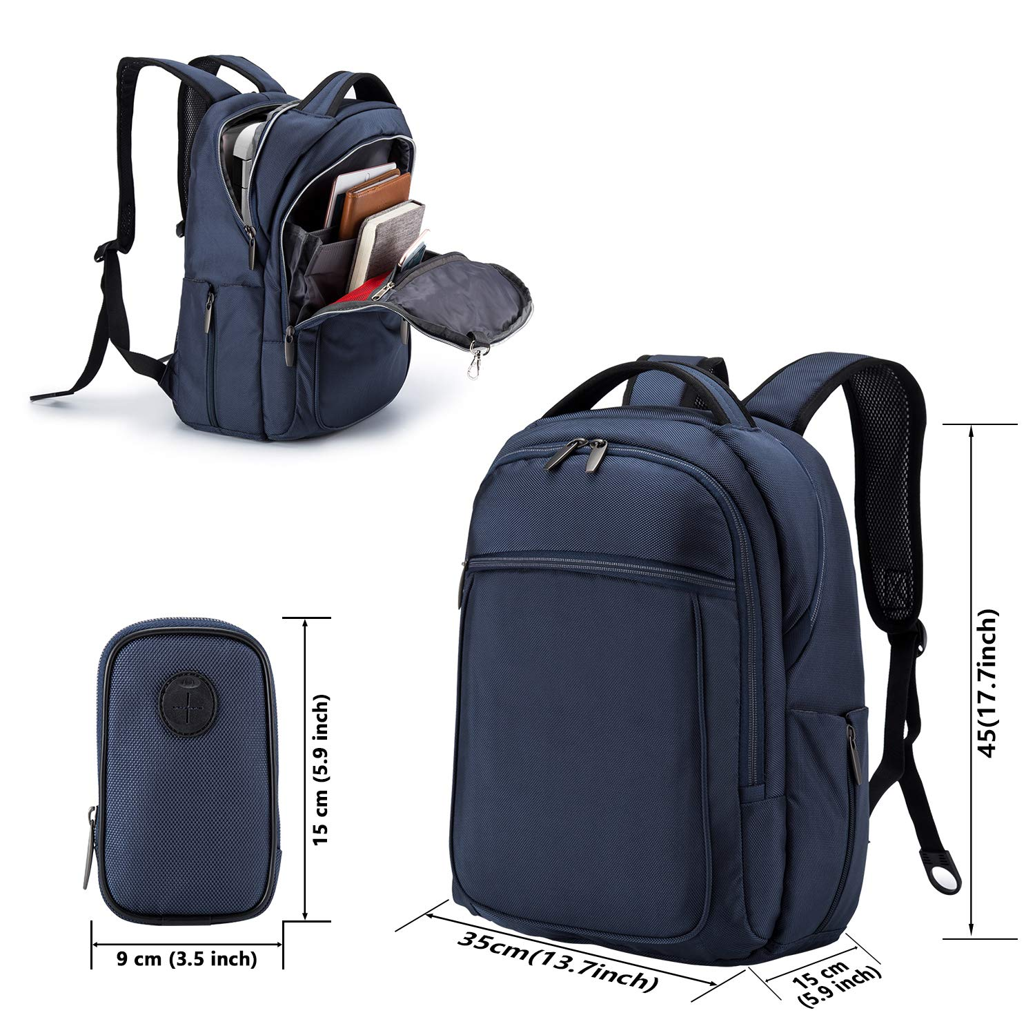 Wemk Laptop Backpack, Business Backpack, Travel Computer Backpack for Women & Men, Water Resistant College School Computer Bag with a Little Bag, Fits 14.1 Inch Laptop& Notebook (Blue) by Wemk (Image #2)
